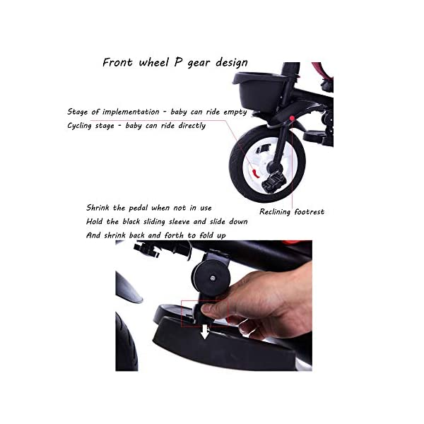 4 In 1 Childrens Folding Tricycle 360° Swivelling Saddle Blockable Rear Wheels Childrens Tricycles Detachable And Adjustable Push Handle 6 Months To 6 Years Child Trike Maximum Weight 25 Kg,Red BGHKFF ★ 4 in 1 multi-function: can be converted into a stroller and a tricycle. Remove the backrest and awning as a tricycle. ★Material: High carbon steel frame, quiet, shockproof, suitable for children from 6 months to 6 years old, maximum weight: 25 kg ★ Tricycle foldable, space saving, easy to carry, seat can be rotated 360°, is the best travel companion, 2-point seat belt, front wheel clutch, rear wheel brake, footrest can be folded 8