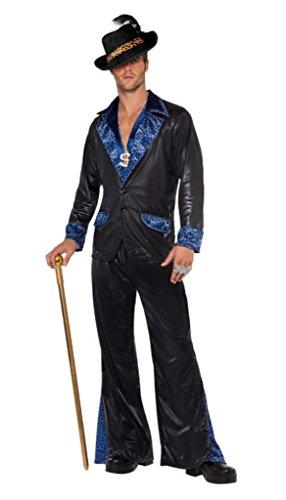 Smiffy's - Pimp Daddy Kostüm für Herren Zuhälterkostüm Herrenkostüm blau - Blau Pimp Kostüm