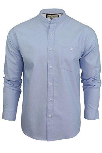 Herren Shirt 'Augustus' mit Grandad-Kragen von Brave Soul, langärmelig Hellblau