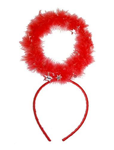 Karnevalsbud - Kostüm Accessoires Zubehör Kopfbedeckung mit Heiligenschein aus Plüsch, Tiara with Halo, perfekt für Halloween Karneval und Fasching, Rot