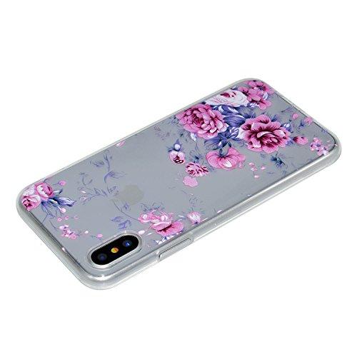 Cover Per iPhone X,Sunrive® Custodia Case in molle Trasparente TPU silicone Morbida Flessibile Pelle Antigraffio protettiva(Amore) Rose Rosa