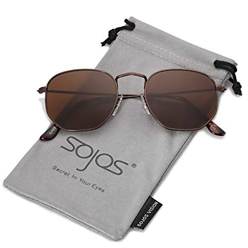 SOJOS Mode Polygon Sonnenbrille Damen Herren Verspiegelte Polarisiert Linse Leichte Unisex Brille SJ1072 mit Kaffee Rahmen/Braun Linse