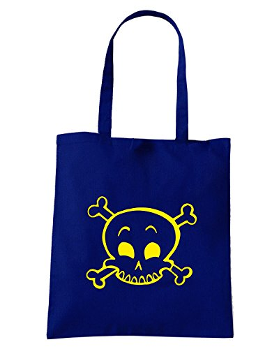 T-Shirtshock - Borsa Shopping FUN0422 1816 happy skull decal 18108 Blu Navy