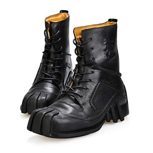 LXLLY Botas Martin para Hombre Botas locomotoras Botas Impermeables de Cuero Genuino Botas Militares Steampunk Botas del Desierto Zapatos para Montar en Motocicleta,Black,48