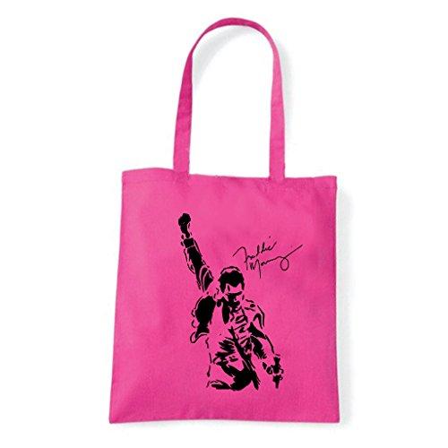 Art T-shirt, Borsa Shoulder Freddy Mercury Queen Fucsia