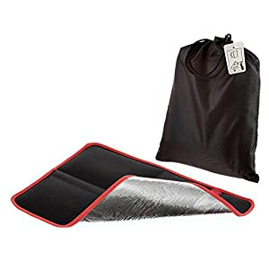 Alu Isolier Sitzkissen | Faltbares Iso-Sitzkissen | Gepolstertes Thermo Kissen mit praktischer Tasche für Outdoor, Camping und Wandern