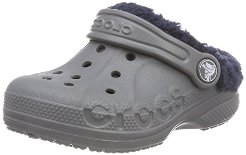 crocs Unisex-Kinder Baya Lined Kids Clogs, Grau (Charcoal/Navy), 29/31 EU -
