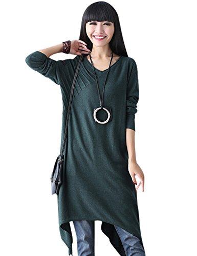 Youlee Damen V-Ausschnitt Irregulär Pullover Kleid Schwarzes Grün