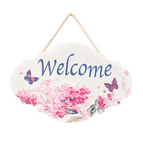 er Welcome Blume Muster Holzschild zum Aufhängen Vintage Wandschild Türhänger Begrüßung Deko ()