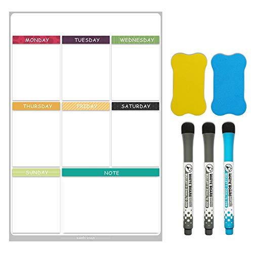 XM&ZF Trocknen sie Erase Magnetisches Whiteboard,Wöchentliche Planer Zeitplan Kalender Kühlschrank Message Board Familienorganisator Notizen Für küche Student-D 40x60cm(16x24inch)