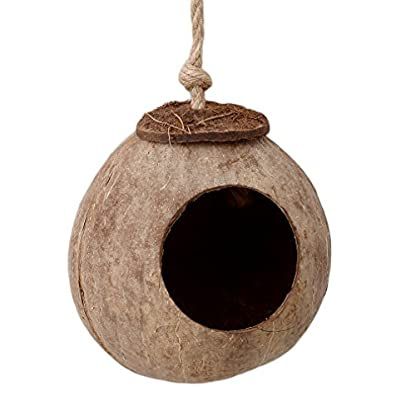 VWH Natural Coconut Shell Bird House Nesting Hut For Pet Parrot Budgie Parakeet Cockatiel Canary Finch Pigeon Hamster… 3