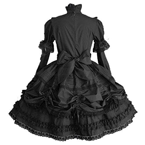 Partiss Déguisement Lolita classique à manches longues avec nœud pour femme - Noir - Manches longues