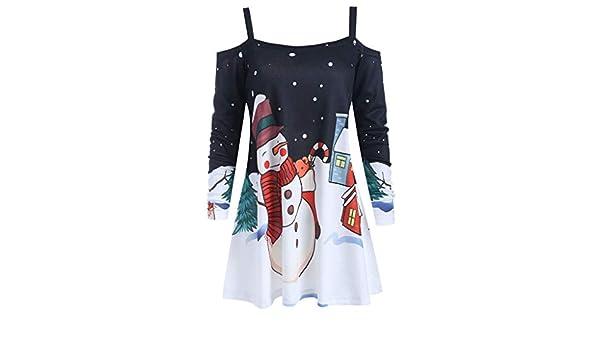 Donna Camicetta Natale Costume con Stampa Moos Maniche Lunghe Felpa con Strap Spalle Scoperte Fodera Stampa Neve Fiocchi degli Anni 50 Maglietta Eleganti Moda Sezione Lunga T-Shirt