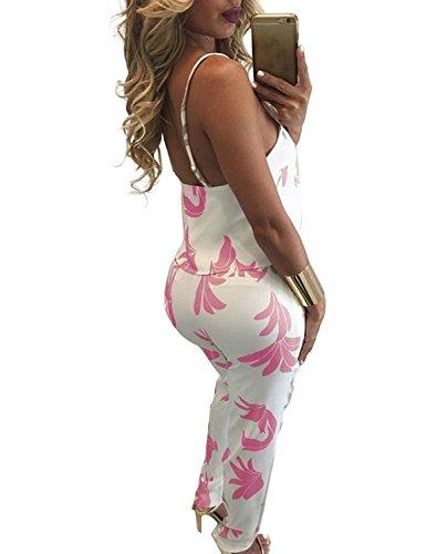 Fancyinn Frauen 2 Stück Outfit Overall Blumenkultur Top + Lange Hosen Pink