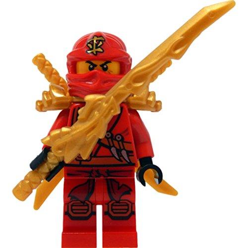 LEGO Ninjago: Minifigur Kai (roter Ninja) mit Schulterrüstung, Drachenschwert und zwei Katanas (Ninjago Roter Ninja)