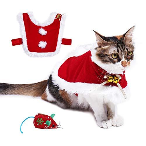 VIKEDI Kostüm für Katzen, Justierbarer Haustier katzenkostüm Weihnachten Mantel mit Glocken - Weihnachtsmann umhang für Katzen Party Bekleidung für Kleine Hunde und Katzen Cosplay Kleidung