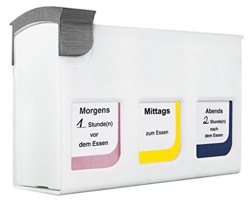 HAN Medikamentendosierer mediTimer Basismodul – Erweiterbare Medikamentendose mit 3 separaten Fächern & 2 Etikettenbögen – 78 x 200 x 133mm (BxTxH) – Weiß