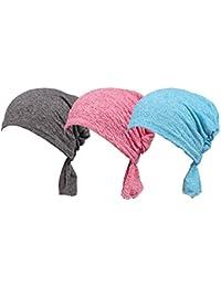 Paquete de 3 bufandas de color Ever Fairy®, atada, étnica, estampada, ajustable, para mujer, Bufanda musulmana