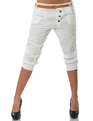 Daleus Damen Boyfriend Chino Capri Hose Knopfleiste inkl. Gürtel (weitere Farben) No 15518, Farbe:Weiß;Größe:42 / XL
