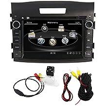 zestech 8Inch para Honda CRV C-RV 2012en Dash HD pantalla táctil coche reproductor de DVD GPS navegación estéreo compatible con Bluetooth/SD/USB/iPod/FM/AM Radio/DVR/3G/AV-IN/1080p con mapa y Reverse copia de seguridad cámara de visión trasera como regalo