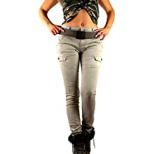 Damen Skinny Hose Safari Army Cargo Military Look mit Ziertaschen  Super-Stretch in beige c768ddd3c4