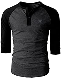 Fashion Freak Full Sleeve T Shirt For Men Stylish Raglan Henley Style Black (FF007)