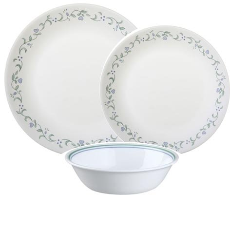 corelle-vitrelle-12-piece-glass-country-cottage-chip-and-break-resistant-dinner-set-green-and-blue