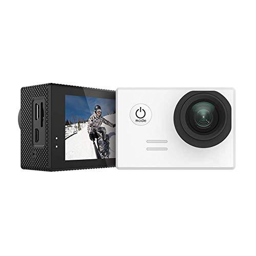 YUN CAMERA@ 4K 30FPS Sport Cam - 12MP Action Cam HD WiFi Wasserdicht Camcorder mit 170 ° Weitwinkelobjektiv Akkus Fernbedienung,White
