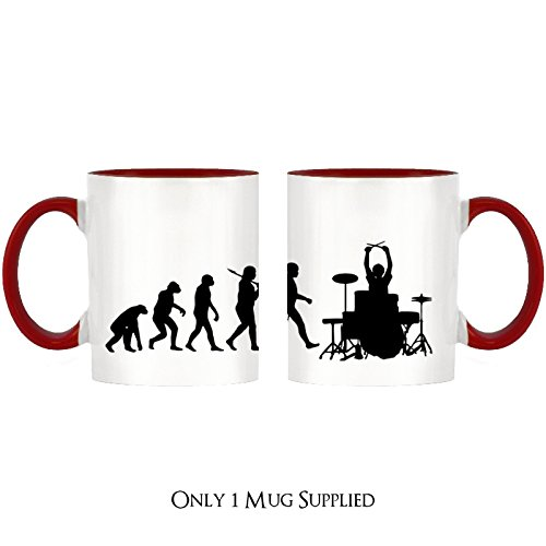 Evolution of a Drummer Design Two-Tone Mug with Red Handle & Inner by 1StopShops