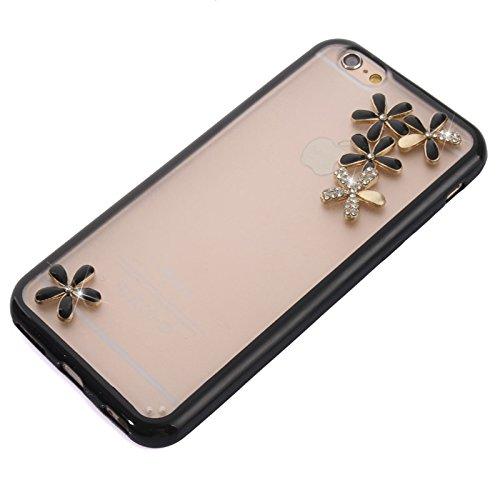 Phone case & Hülle Für IPhone 6 / 6S, natürliche Silk Textur & Stereoskopische Diamant verkrustete Rose Horizontale Flip Leder Tasche mit Halter & Card Slot ( Color : Green ) Black