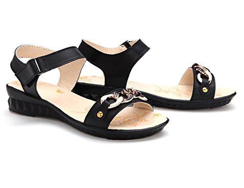 Moderne Sommer Damen Flach Slip On Offene Zehen Lässige Einfache Weiche Sohle Gummi Anti Rutsch Strandschuhe Sandalen Schwarz