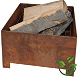 mgc24® Feuerkorb für Garten und Terrasse | eckig ca. 38x38x24cm | Stahl Rostoptik