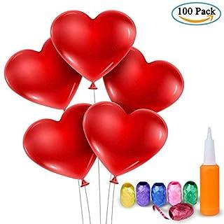 Ballons en Forme de Cœur avec Pampe – Meersee 100 Ballons en Latex Ballon en forme Coeur pour Mariage Anniversaire Décoration (cœur)