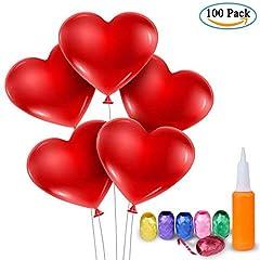 Idea Regalo - Palloncini a Forma di Cuore – Meersee 100 Lattice Palloncini e Pompa e Ribbon Palloncini Cuore Rosso Grande per Matrimoni, Anniversari, San Valentino (cuore)