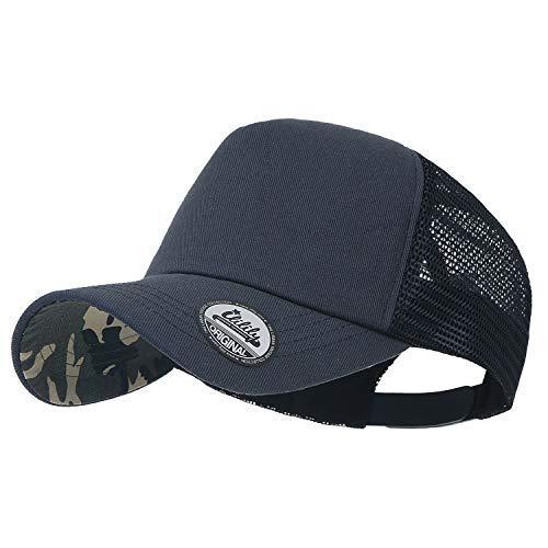 ililily Extra Large Big Size Mesh Back Curved Baseball Cap Trucker Hat XL (Large, Charcoal Camo)