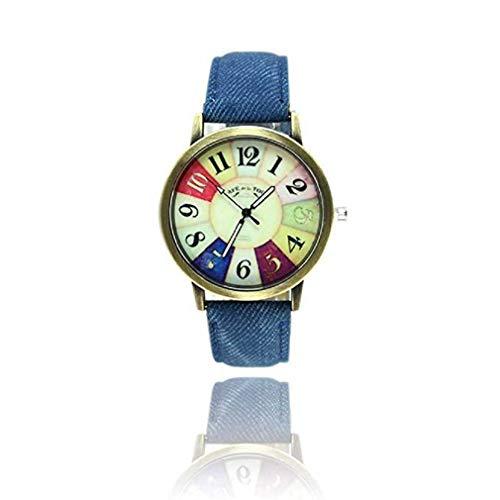 Fittingran orologio da donna unisex harajuku, harajuku graffiti modello unico analogico moda in vendita orologi da polso casual per donna uomo con confortevole cinturino in pelle pu (blu)