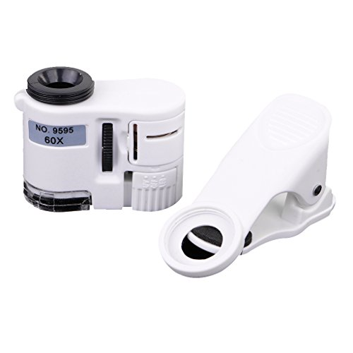 MagiDeal 60x Mikroskop LED Lichtmikroskop Clip-On Kamera Objektiv Adapter Erweiterung für Smartphone Handy Universal