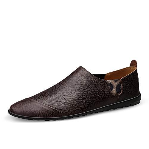 S-Fang Penny Herren Schuhe, Sommerschuhe, für Herren, Casual, Bootsschuh, Slipper auf Echtleder, elastische Bänder, rutschfeste Außensohle, atmungsaktiv, langlebig, Braun - braun - Größe: 38 EU - Größe Mädchen Western-stiefel 13