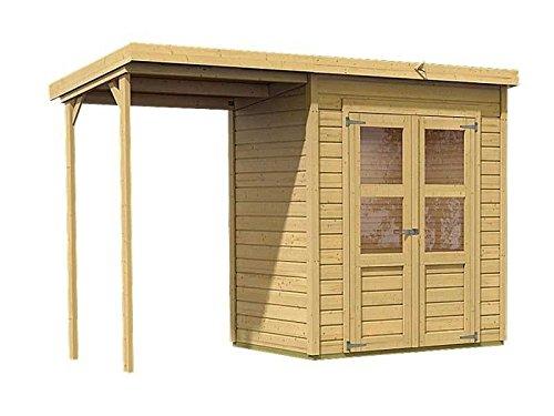 Karibu Gartenhaus Florenz 2 mit Schleppdach natur SPARSET mit selbstklebender Dachbahn