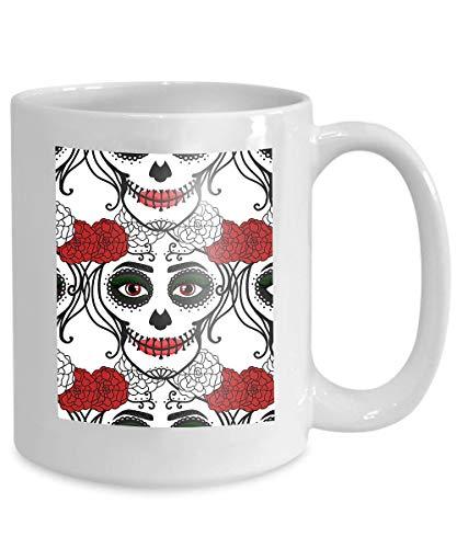 mug coffee tea cup seamless pattern catrina woman make up sugar skull dia de los muertos mexican day dead seamless pattern ()