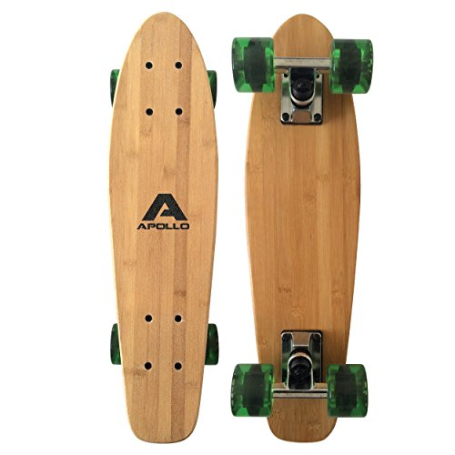 Apollo Wooden Fancy Skateboard, Vintage Cruiser Komplettboard mit und ohne LED Wheels, Größe: 22.5'' (57,15 cm), Farbe: Wood/Bottle Green