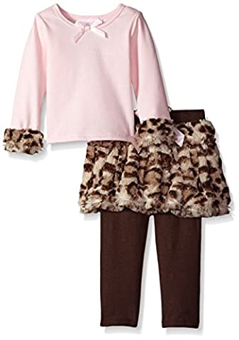 Bonnie Jean Baby Girls Brown Pink Leopard Spot Faux Legging Outfit 24M
