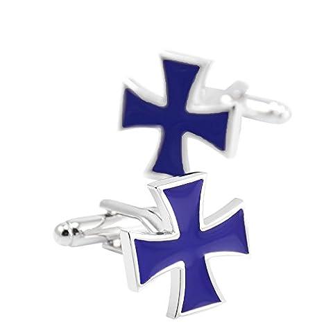 FariyFeel Jewelry Men's Creative Blue Cross Cufflinks,For Wedding,Business