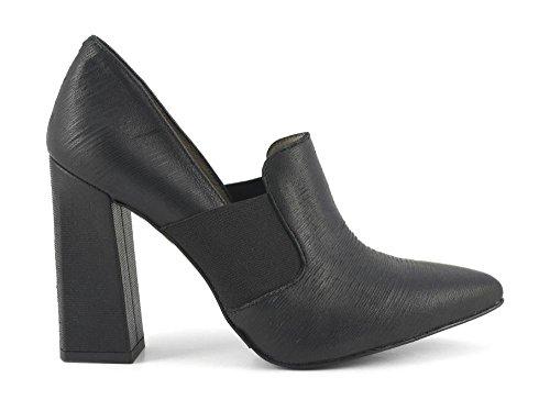 CAFè NOIR MA442 nero scarpe donna decolletè punta elastico tacco grosso 39