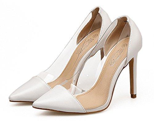 Aisun Damen Klassisch Spitz Zehen Transparent Low Top Stiletto High Heels Pumps Weiß