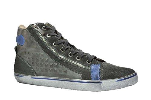 Cafè Noir, TPN102, sneakers in pelle e nabuk vintage grigio, uomo, Taglia: 44