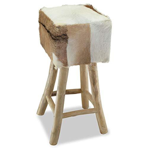 tidyard Fellhocker Holzhocker mit Fellbezug, Polsterhocker aus Teak und Echtes Ziegenleder, Handgefertigt, Eckig, 35 x 35 x 76 cm (B x T x H)