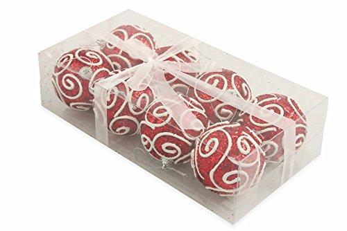 Galileo casa spiral set 8 palle decorative di natale, polyfoam, rosso, 7x7x7 cm, 8 unità