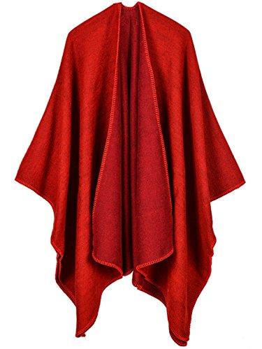 AIVTALK Damen Einfarbig Warm Poncho Cape Umhang Schal für Herbst Winter - Elegant und Chic - Rot 130x150cm