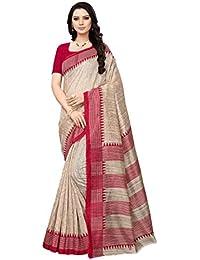 AKHILAm Women's Bhagalpuri Silk Saree with Unstitched Blouse Piece (Beige Red_Free Size)